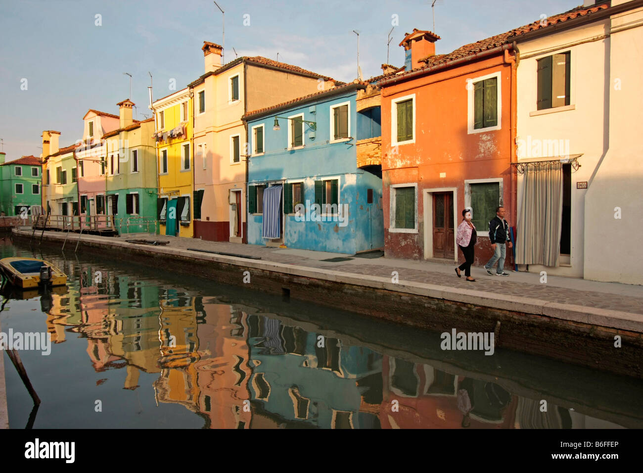 Island of Burano in the Venetian Lagoon, renowned for its colorfully painted houses, Veneto, Italy, Europe - Stock Image