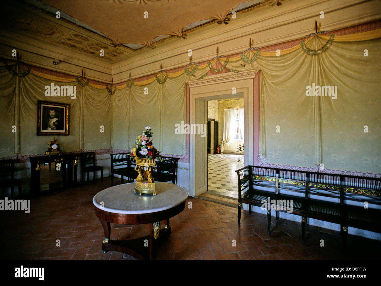 Sala Nodo d' Amore, Villa Napoleone, San Martino near Portoferraio, the island of Elba, Livorno Province, Tuscany, - Stock Image