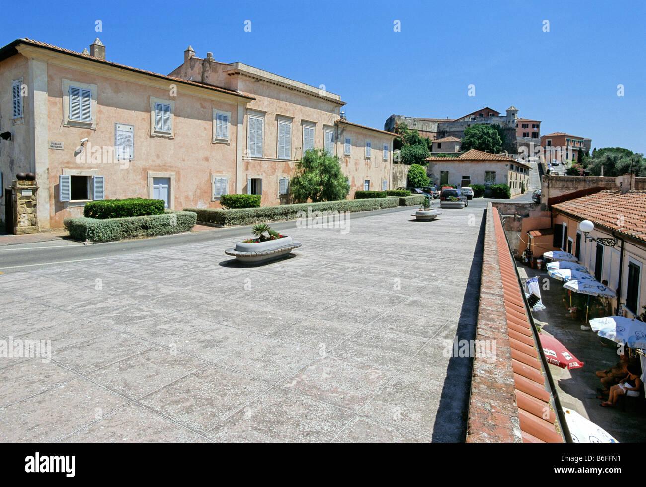 Piazza Napoleone, Palazzina Mulini, Forte Stella above, Portoferraio, Island of Elba, province of Livorno, Tuscany, Stock Photo