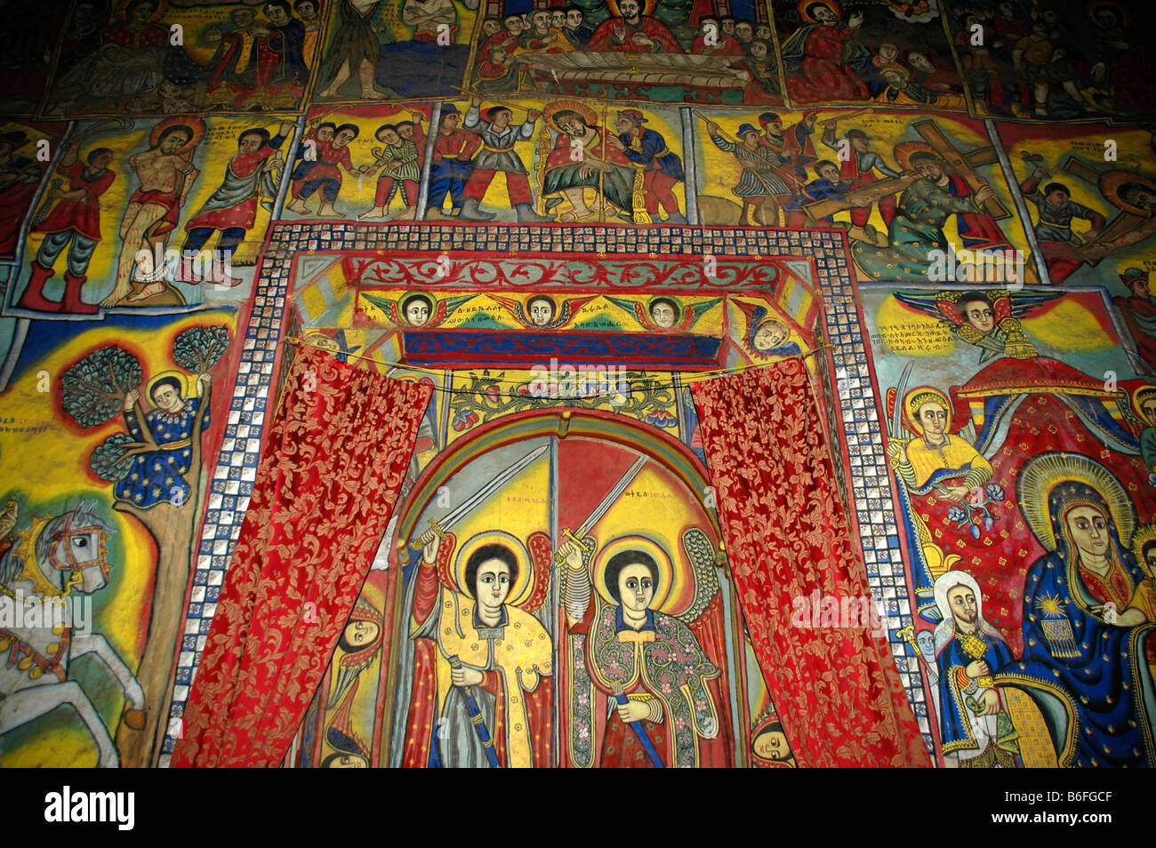 Colourful wall painting with Arch Angel, Ukra Kidane Mekret Abbey, Tana Lake, near Bahir Dar, Ethiopia, Africa - Stock Image