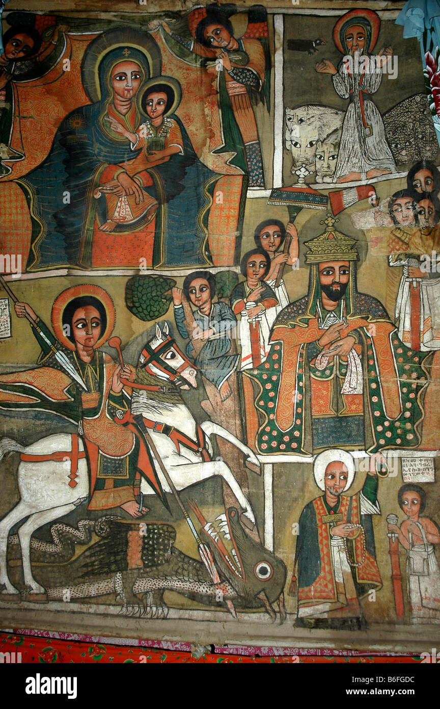 Wall painting, Mary with the infant Jesus, St George, Beta Marquorewos holy rock church, Lalibela, Ethiopia, Africa - Stock Image
