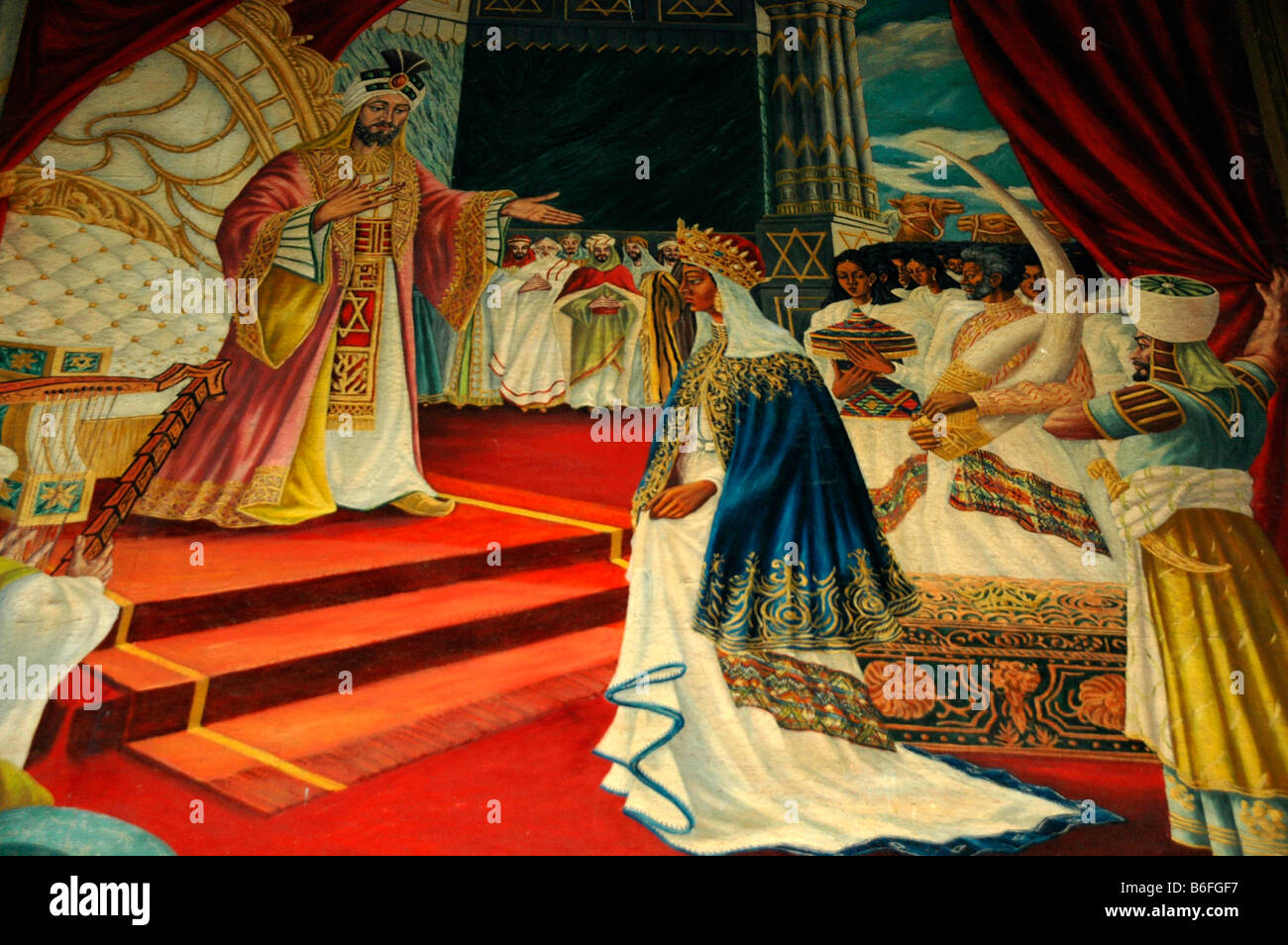 Mural art, Queen of Sheba with King Solomon, Church of St George, Addis, Adeba, Ethiopia, Africa - Stock Image