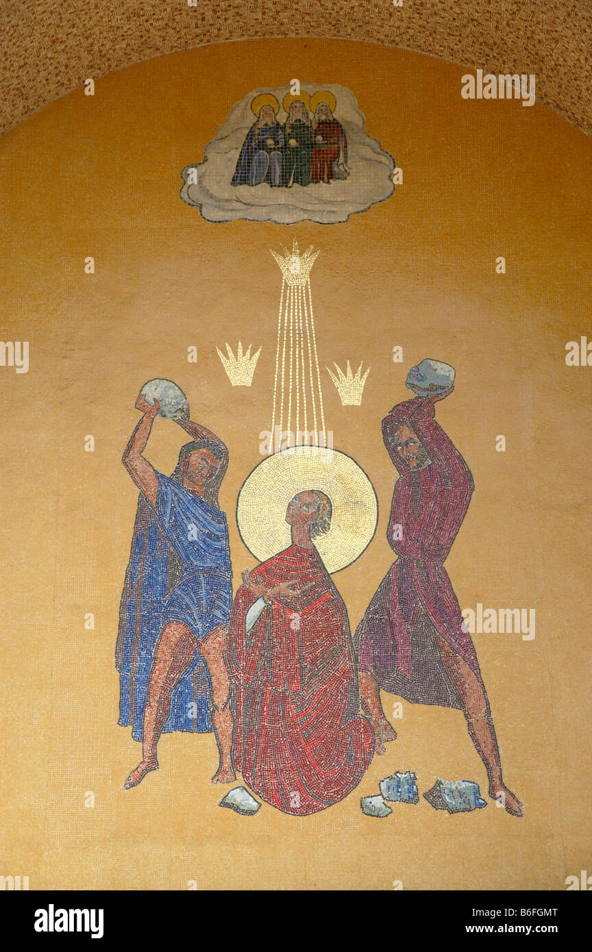 Mural of the stoning of St. Stephen, a mosaic over the entrance to an Ethiopian Orthodox church - Stock Image