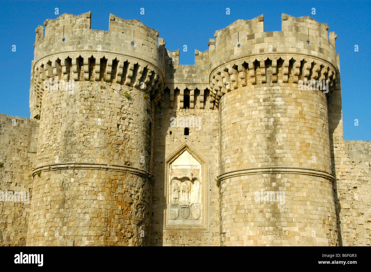 Medieval town gate of the Order of Saint John, Rhodos city, Rhodes Island, Dodecanese, Greece, Europe - Stock Image