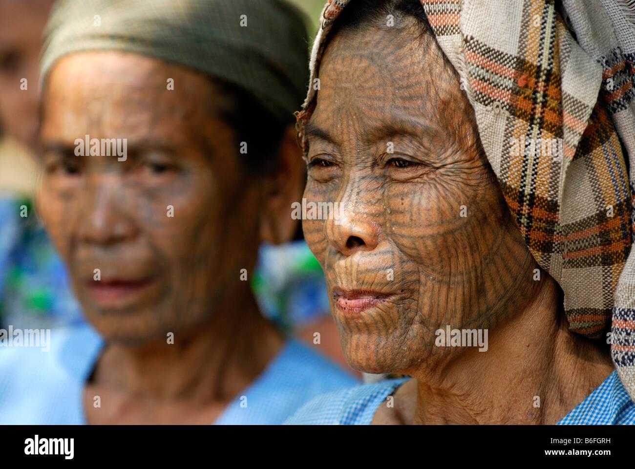 Tattooed women, so called spider women, Mrauk-U, Burma, also called Myanmar, Southeast Asia Stock Photo