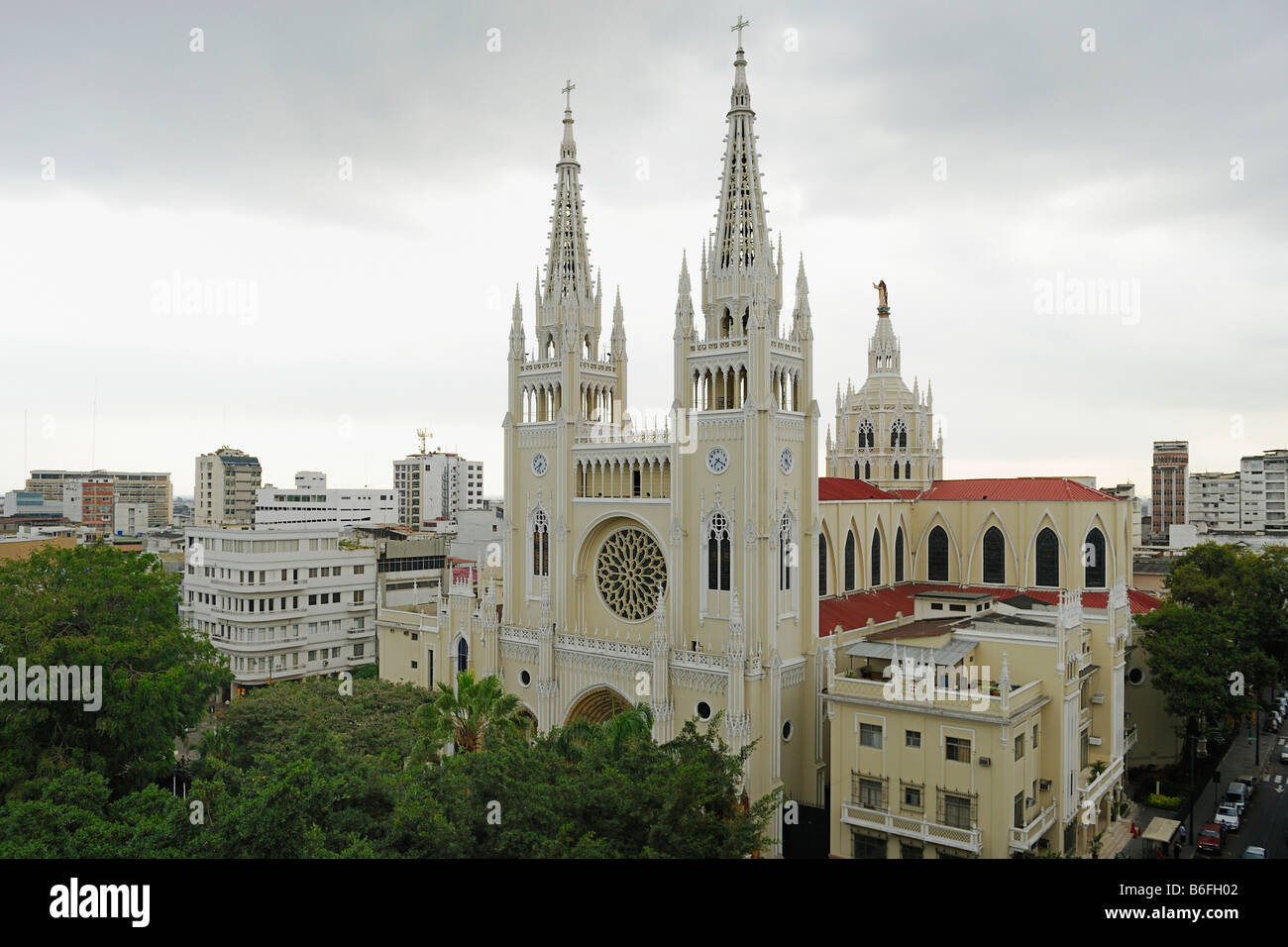 New Gothic cathedral, built in 1948, with lead crystal windows, Guayaquil, Ecuador, South America - Stock Image