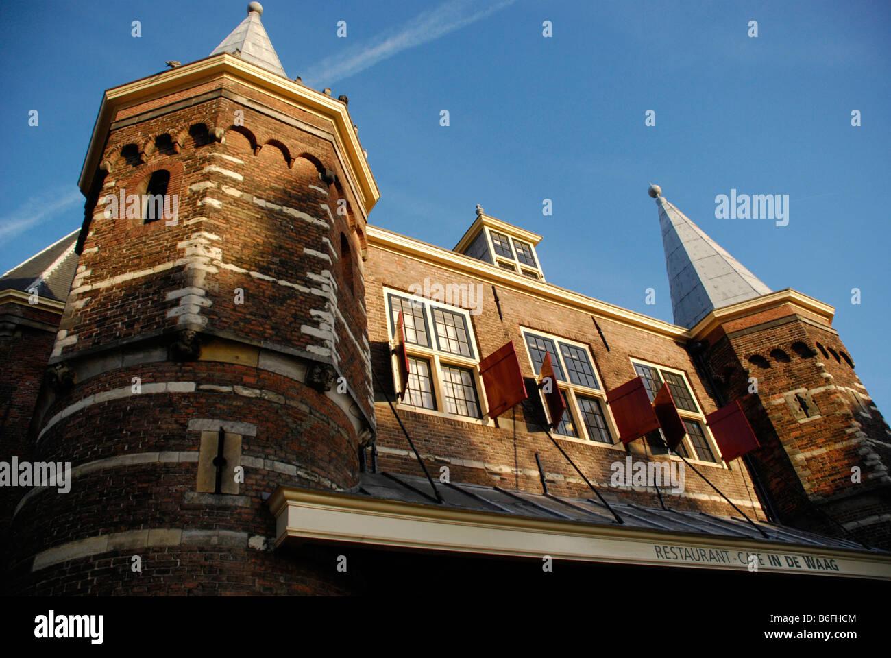De Waag, upscale restaurant and cafe, Nieuwmarkt, Amsterdam, Netherlands - Stock Image
