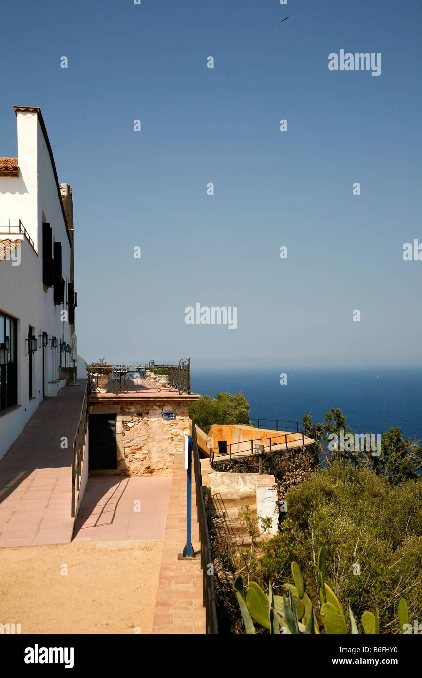 View onto the Mediterranean Sea at Llafranc, Costa Brava, Catalonia, Spain, Europe - Stock Image