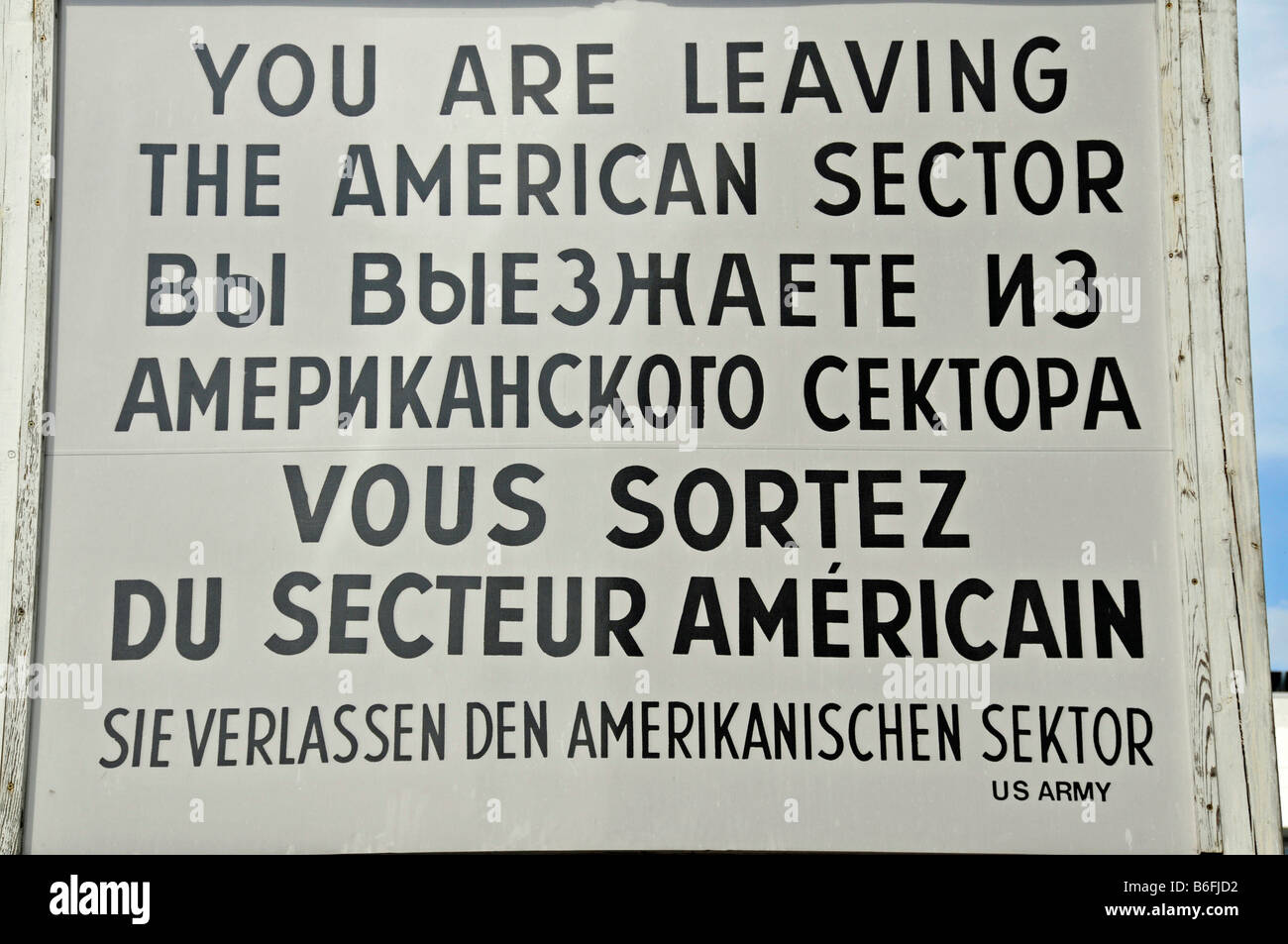 Former sign from Checkpoint Charlie, Berlin, Germany, Europe - Stock Image