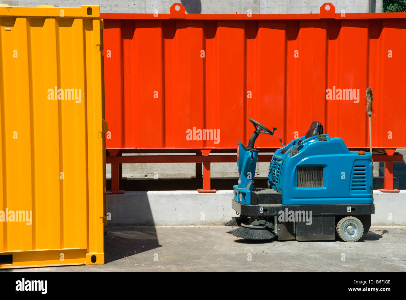 Containers and street sweeping machine in the Sondermuelldeponie or hazardous waste deposit in Koelliken, SMDK, Stock Photo