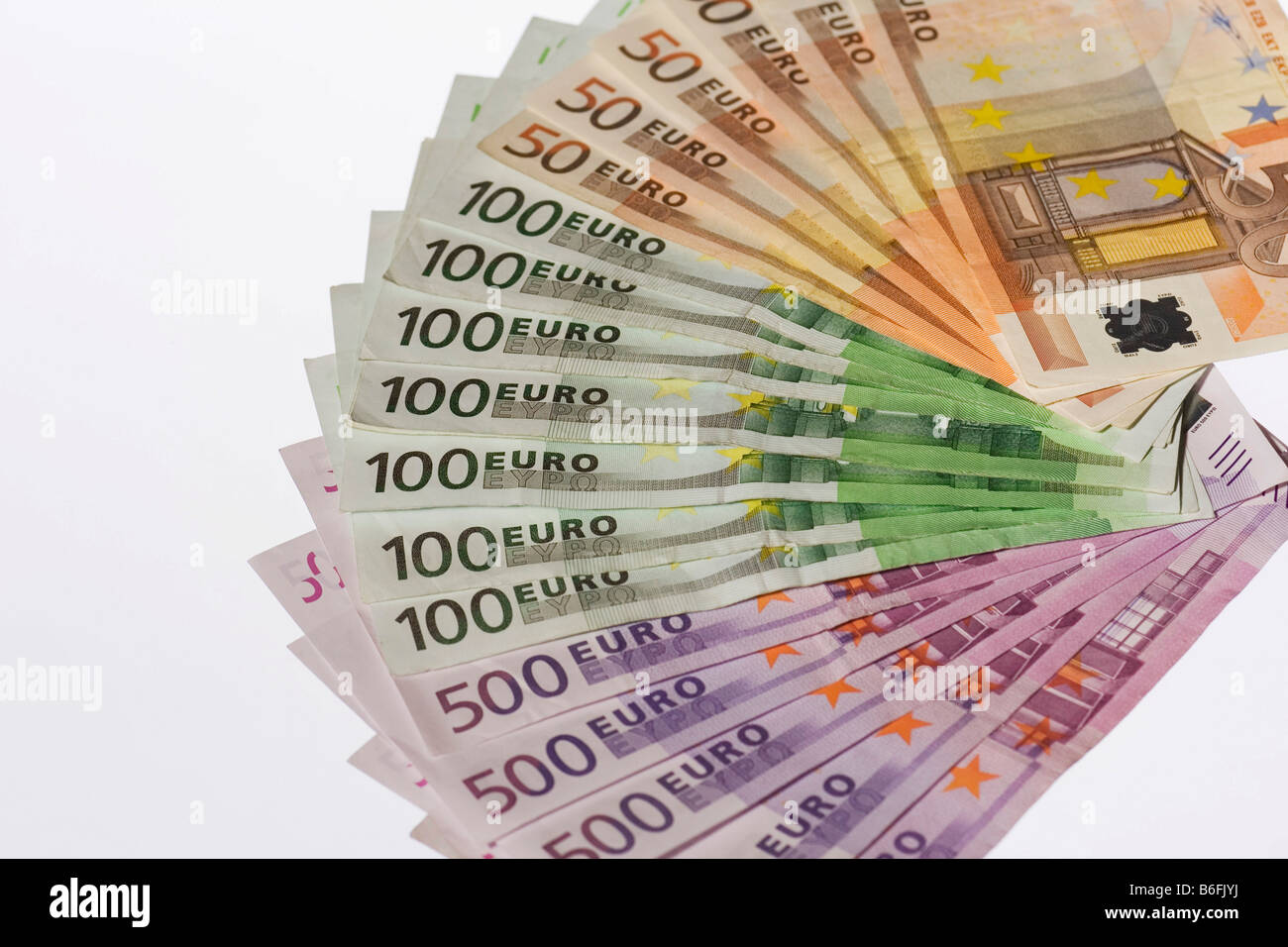 Bank notes fanned out - Stock Image