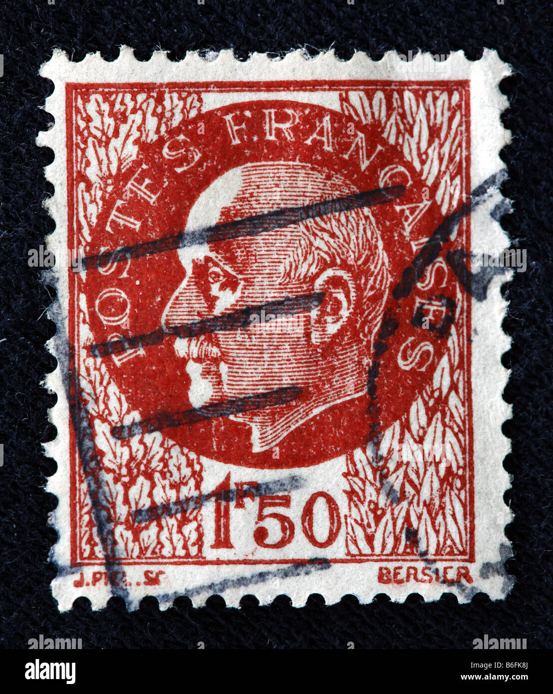Marshal Philippe Petain, Head of State of Vichy France (1940-1944), postage stamp, France - Stock Image