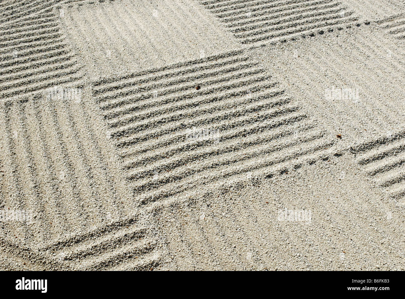 Japanese, patterned sand in a flat level garden, Flat Garden, Hira Niwa, Japan, Asia - Stock Image