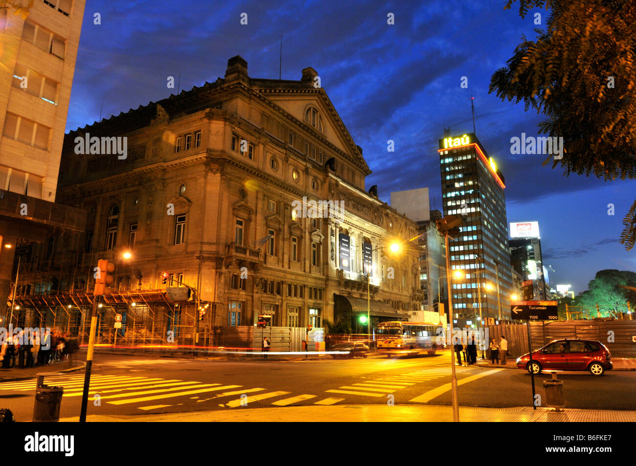 Teatro Colon at night, Buenos Aires, Argentina, South America - Stock Image