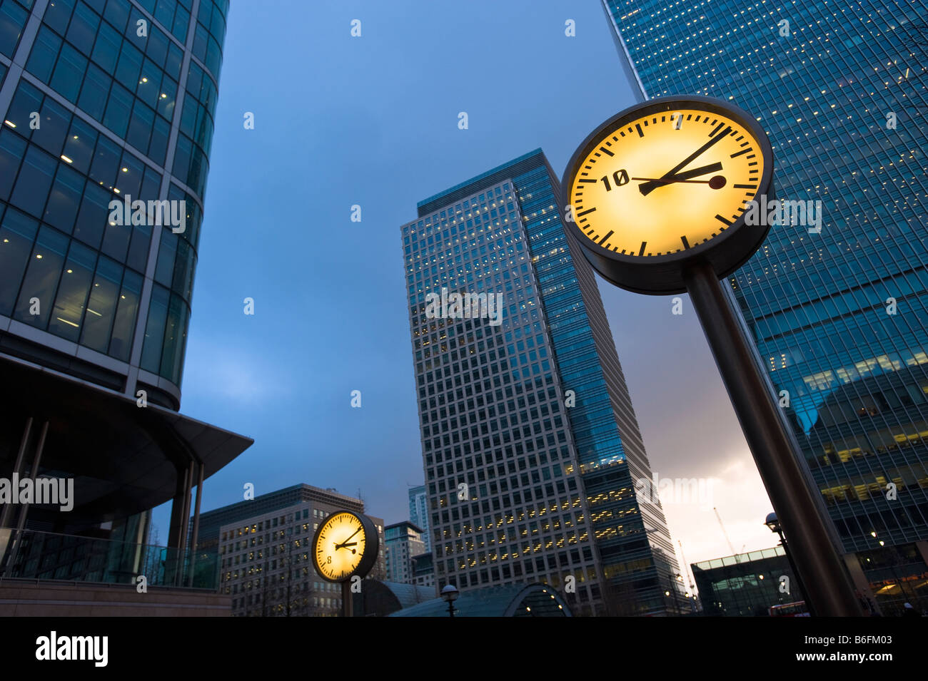 Office blocks in Canary Wharf Docklands E14 London United Kingdom - Stock Image