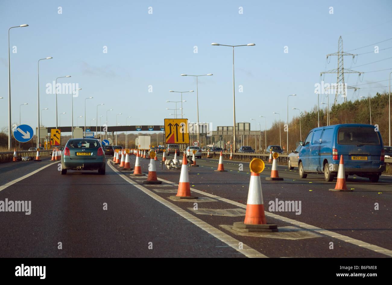 Roadworks on the M25, Hertfordshire,  England - Stock Image