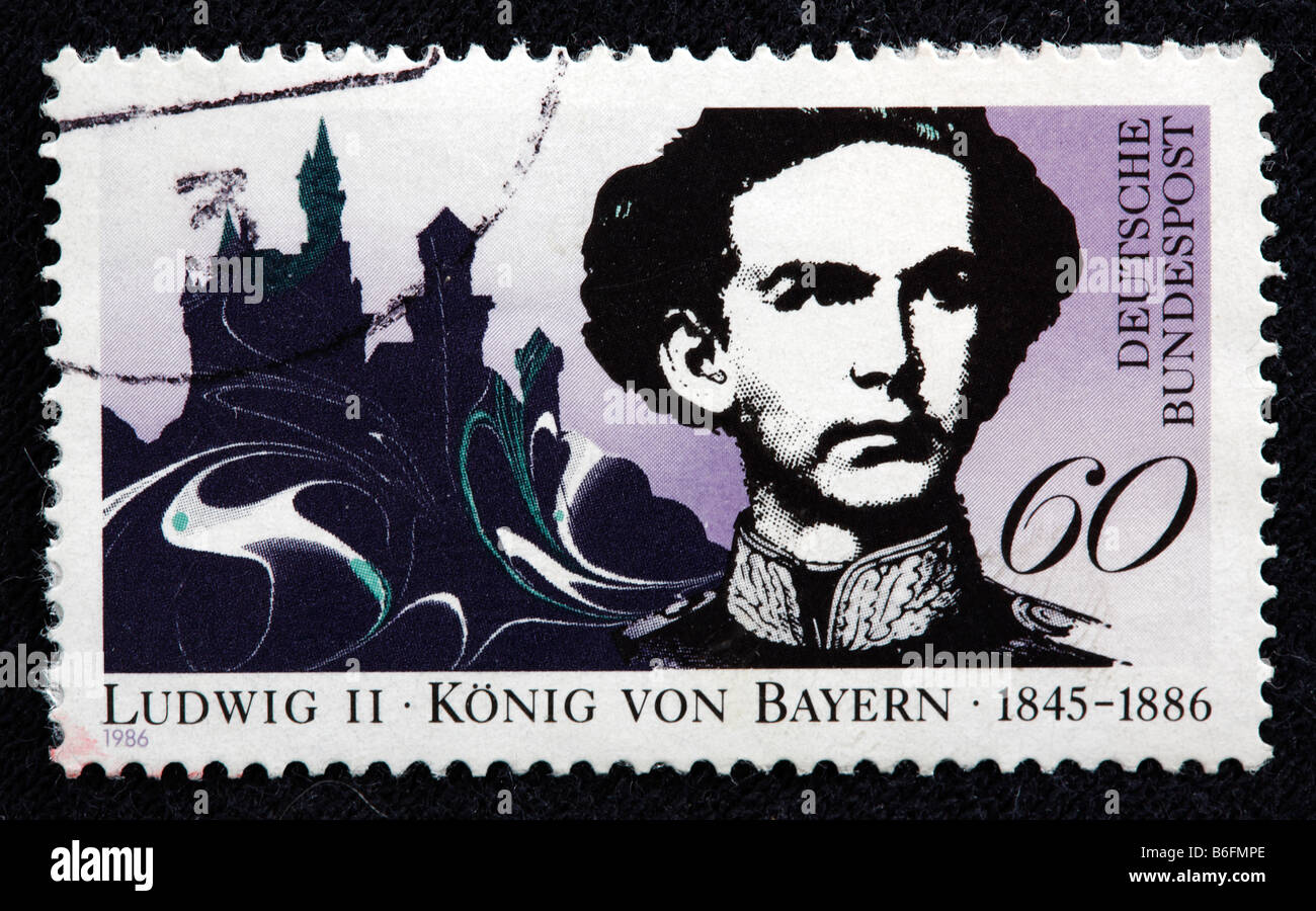 Ludwig Louis II, King of Bavaria (1864-1886), postage stamp, Germany, 1986 - Stock Image