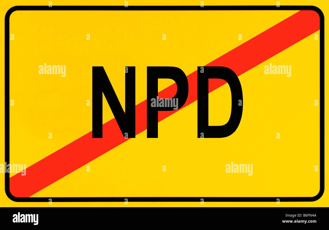 End of town sign, symbolic image for the end of the NPD Stock Photo