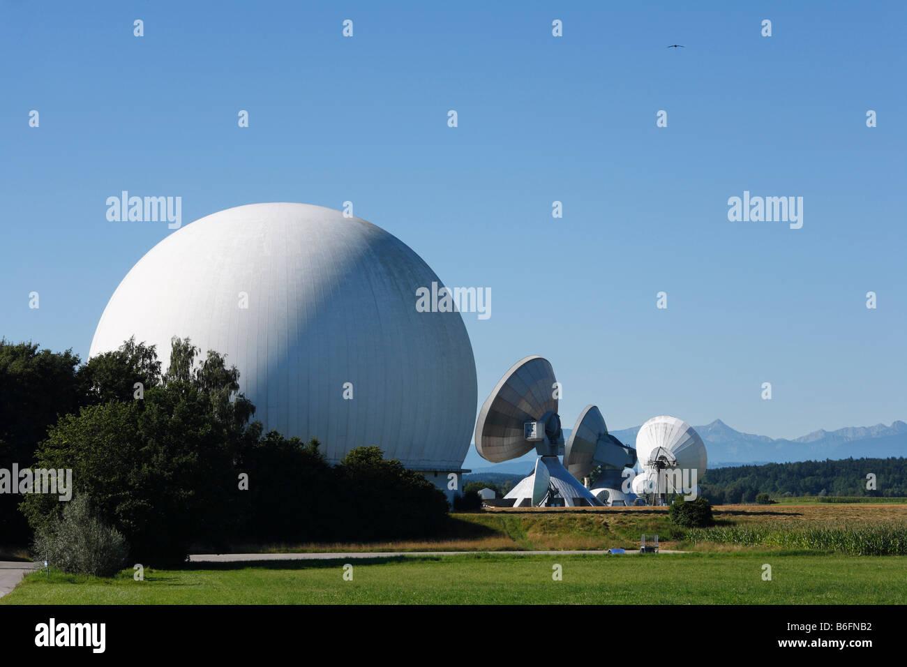 Radome, radar dome, Raisting radar dome, Upper Bavaria, Germany, Europe - Stock Image