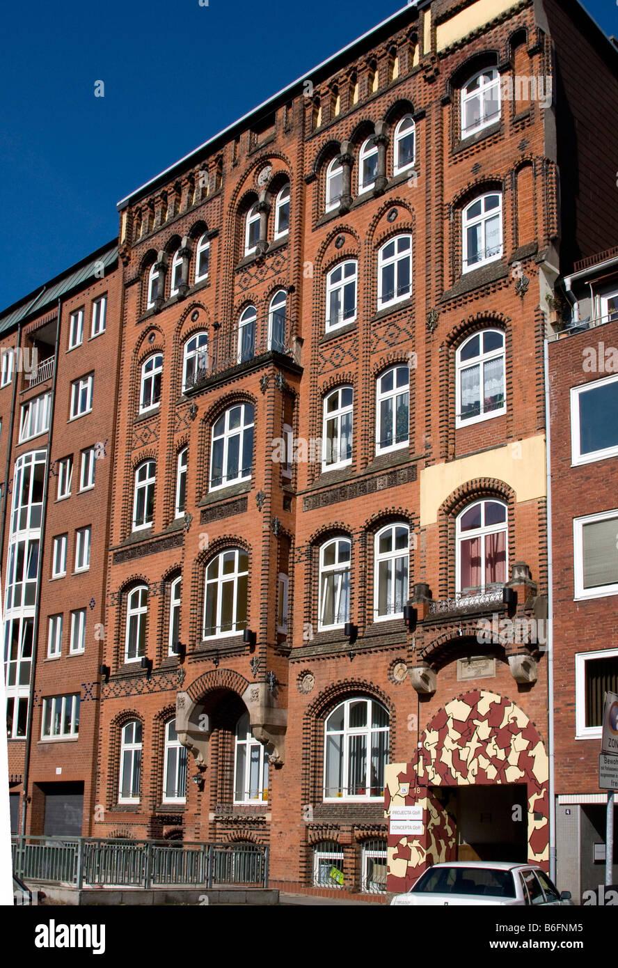 Typical Hamburg brick building, Michaelisstrasse, Hamburg, Germany, Europe - Stock Image