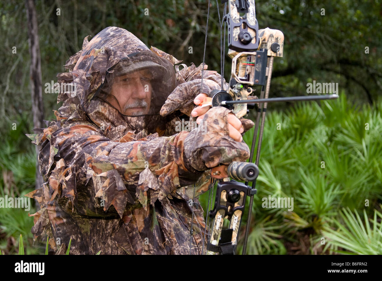 Hunter wearing camouflage outfit with hunting bow kneels in the woods while hunting game - Stock Image