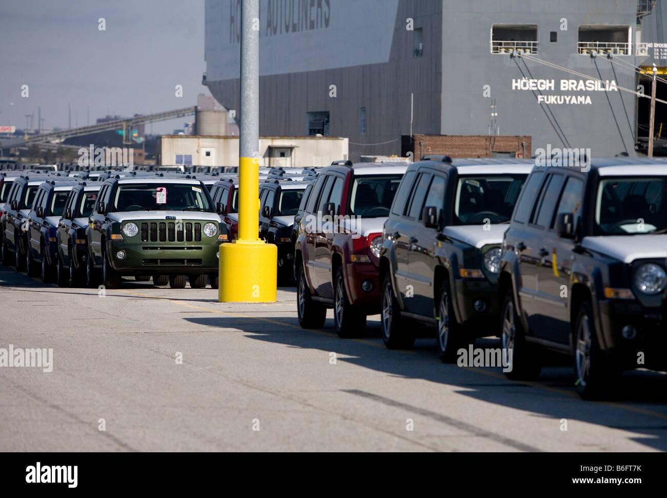 Chrysler vehicles sit at the Port of Baltimore awaiting shipment - Stock Image