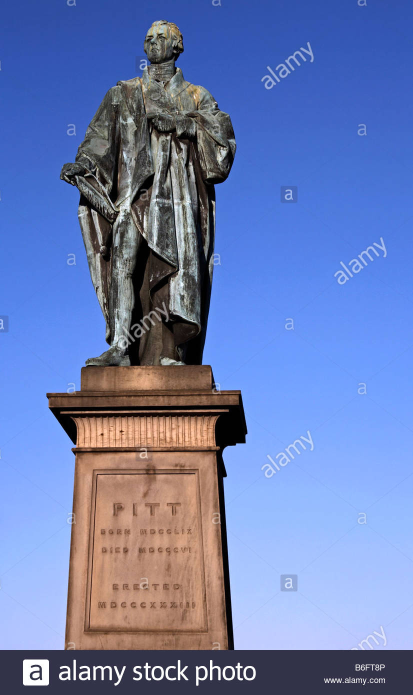 Statue of William Pitt the younger 1759 – 1806 , British Prime Minister in 1783 and again in 1804, Edinburgh Scotland - Stock Image
