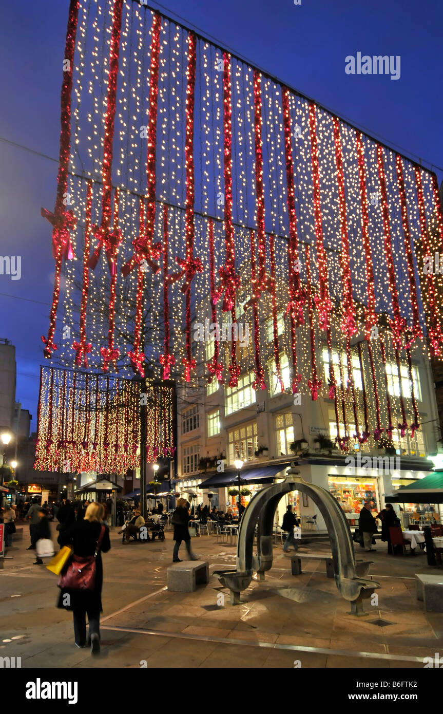 Christmas decorations in St Christophers Place a shopping and eating out area off 'Oxford Street' in Londons - Stock Image