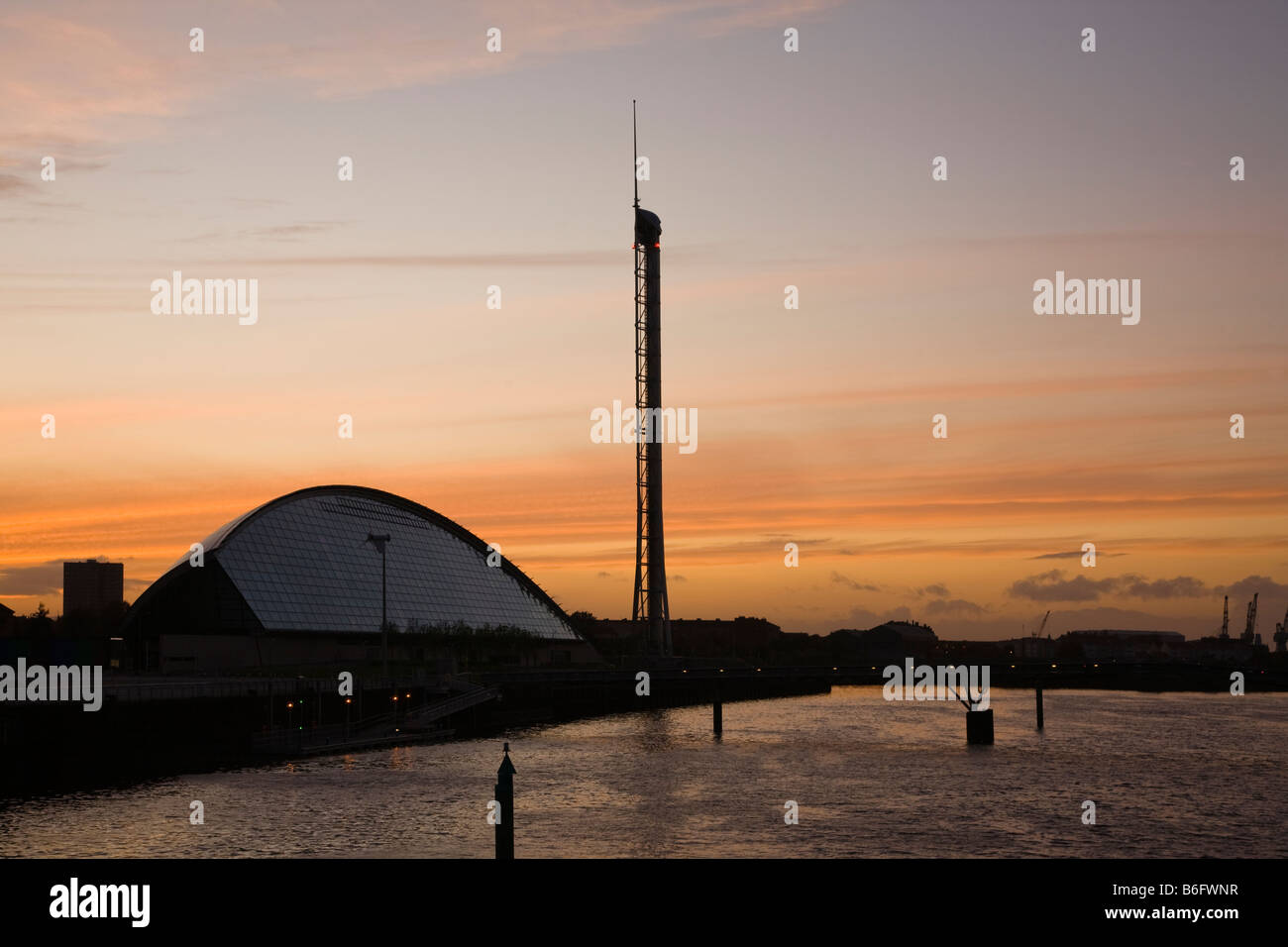 View west from Bells Bridge at Anderston over the River Clyde, Glasgow towards the Science Centre,Observation tower - Stock Image