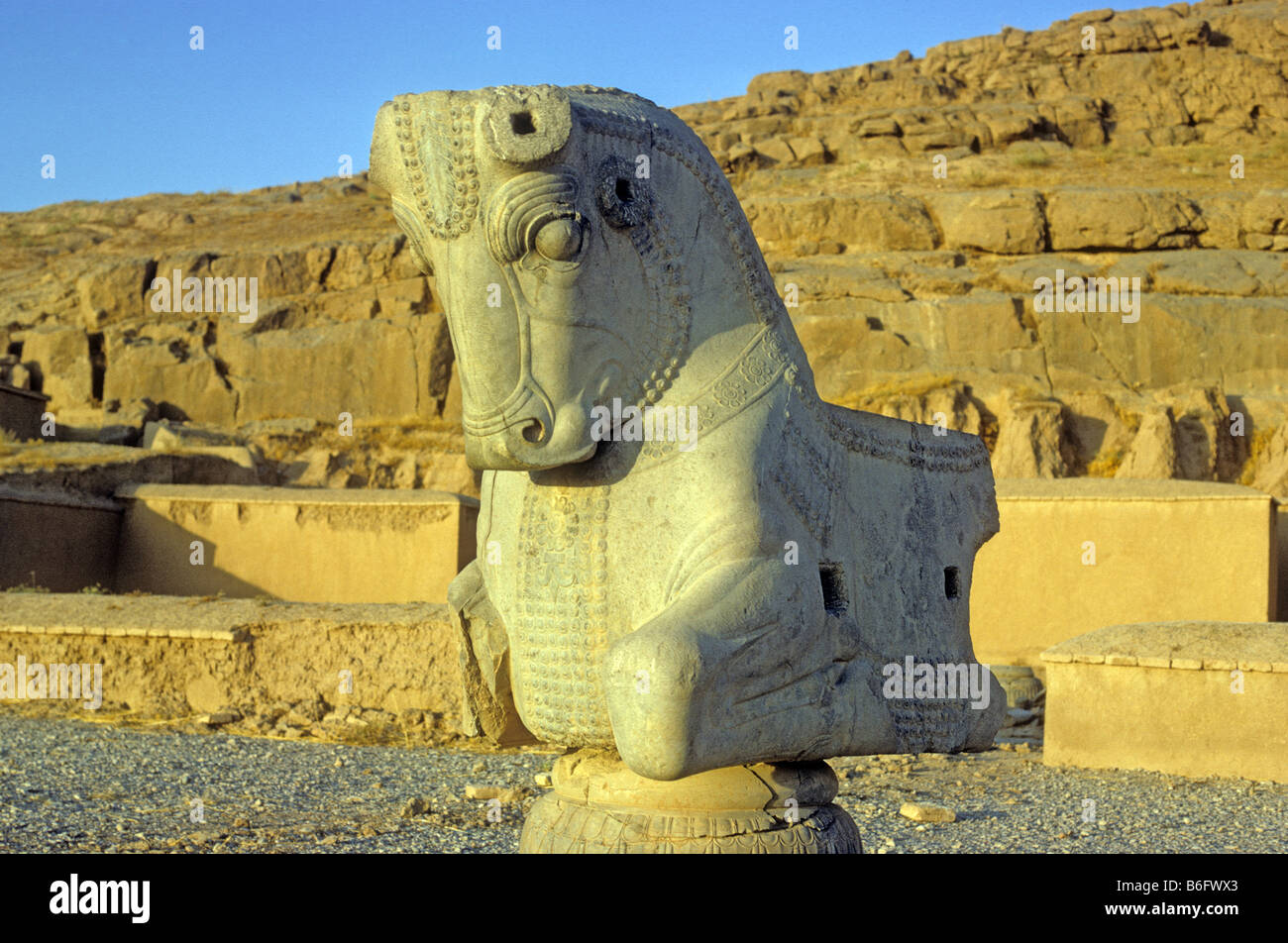 Stone statue of bull; Persepolis; Persepolis in the Islamic Republic of Iran; was inscribed as a UNESCO World Heritage - Stock Image