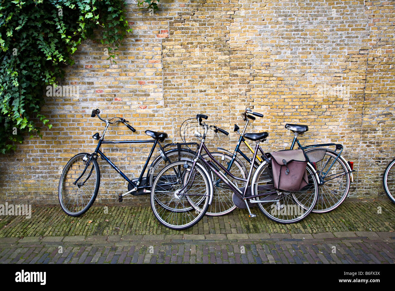 Bicycles leaning against old wall Enkhuizen Netherlands - Stock Image