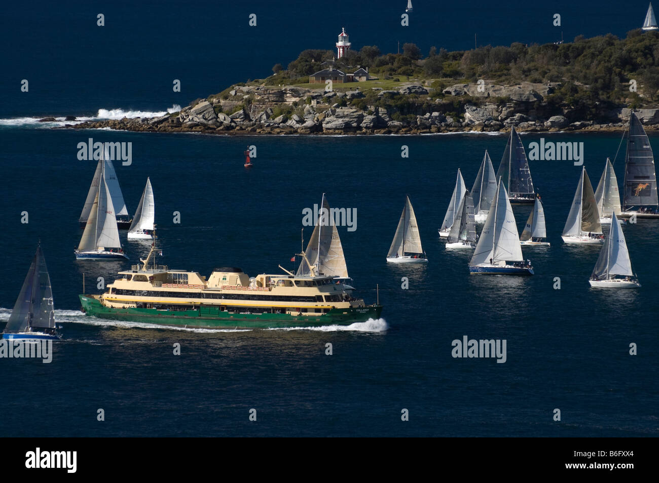 Yachts and Manly Ferry on Sydney Harbour. South Head is in the background. - Stock Image