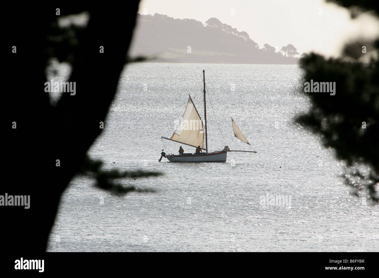 Oyster fishermen in Falmouth working boats sailing on the Carrick Roads Cornwall in Winter Stock Photo