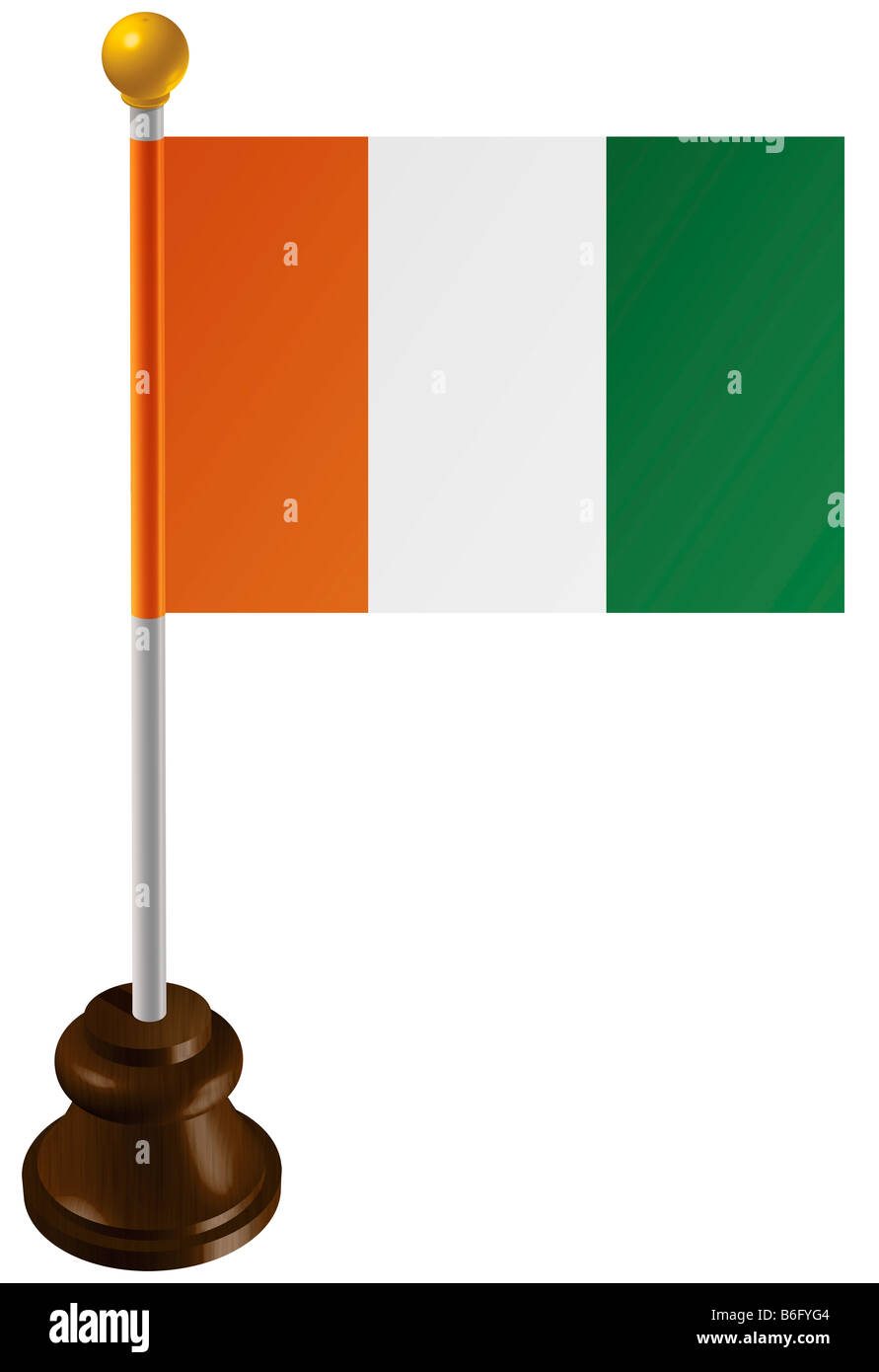 Cote d'Ivoire flag as a marker - Stock Image