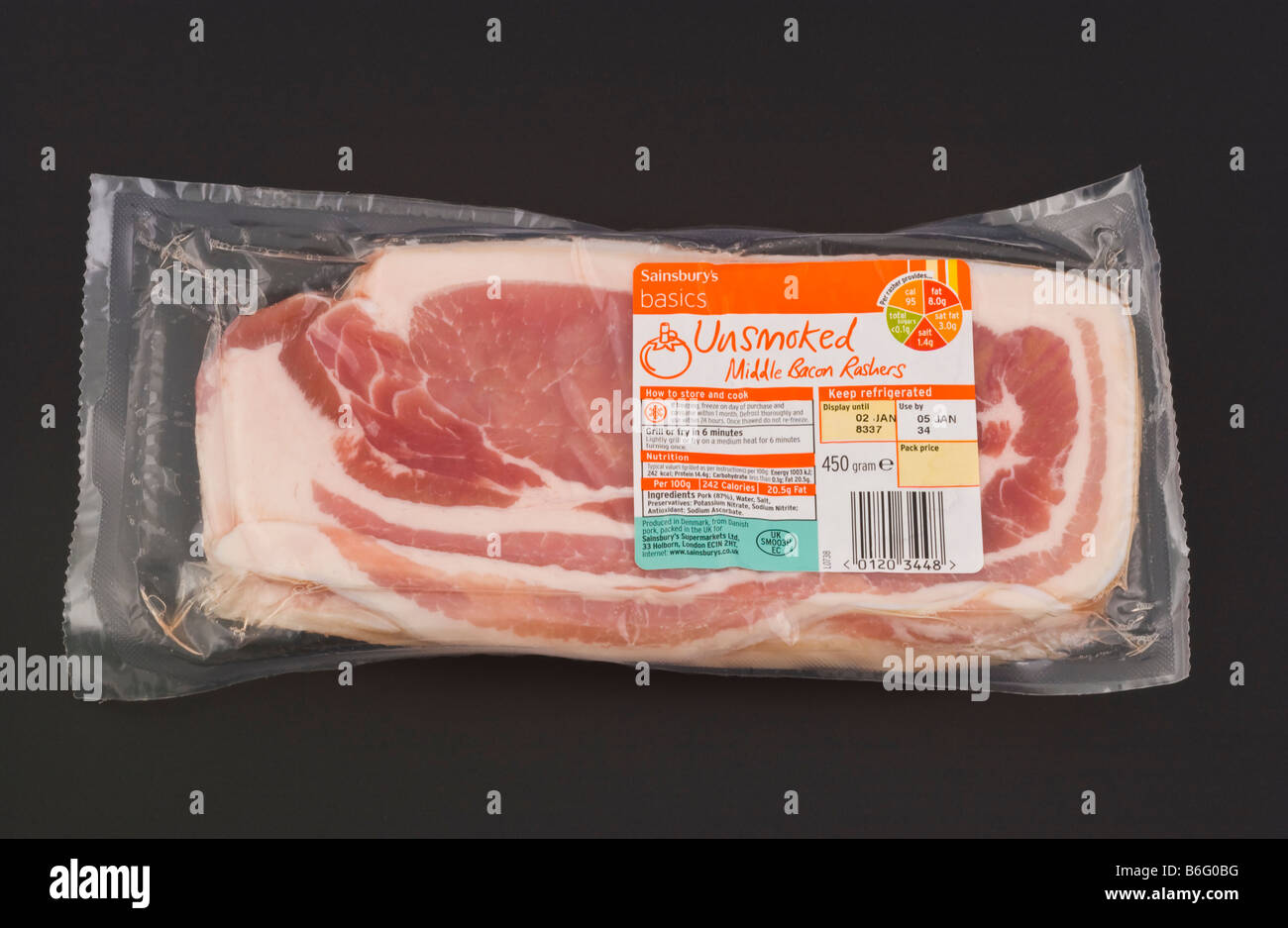 Pack of Sainsburys unsmoked middle bacon rashers part of their Basics sold in the UK - Stock Image