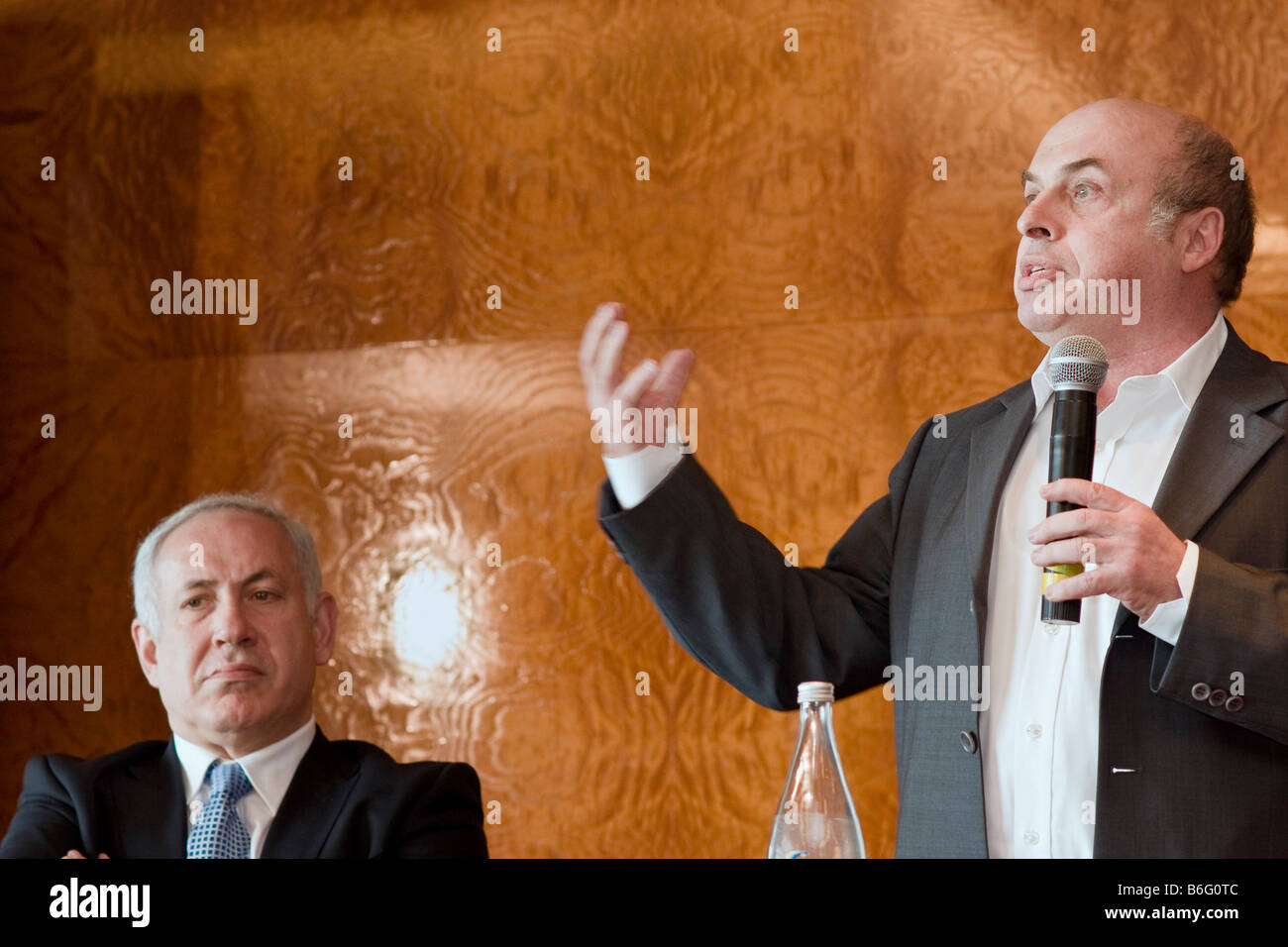 Former Israeli PM Binyamin Netanyahu and Nathan Sharansky during Adelson Institute's Dec. 2008 Counterinsurgency Stock Photo