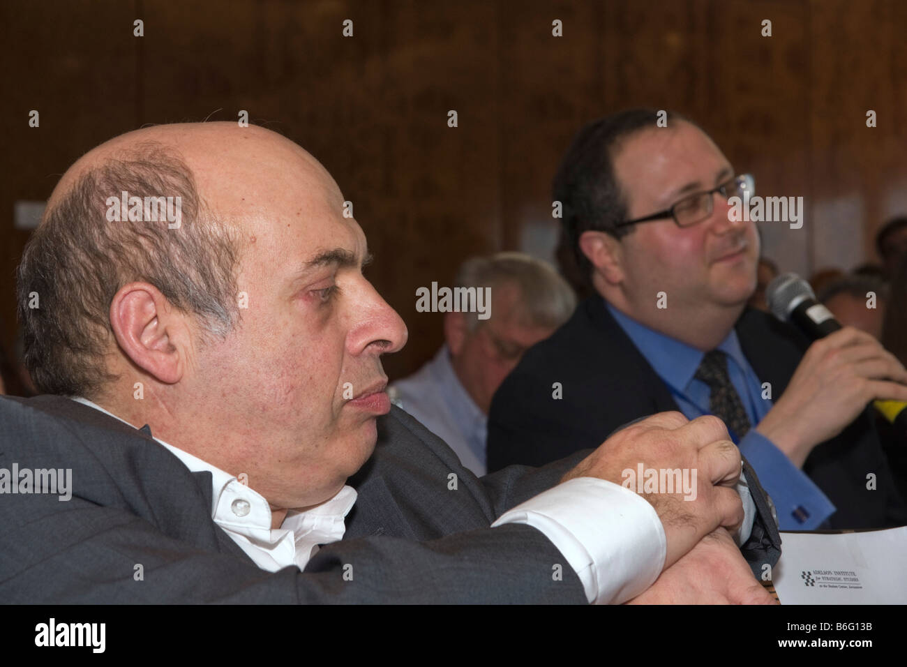 Nathan Sharansky,Chairman of the Adelson Institute for Stratgic Studies, Listens to Dr. Fred Kagan from AEI during Stock Photo