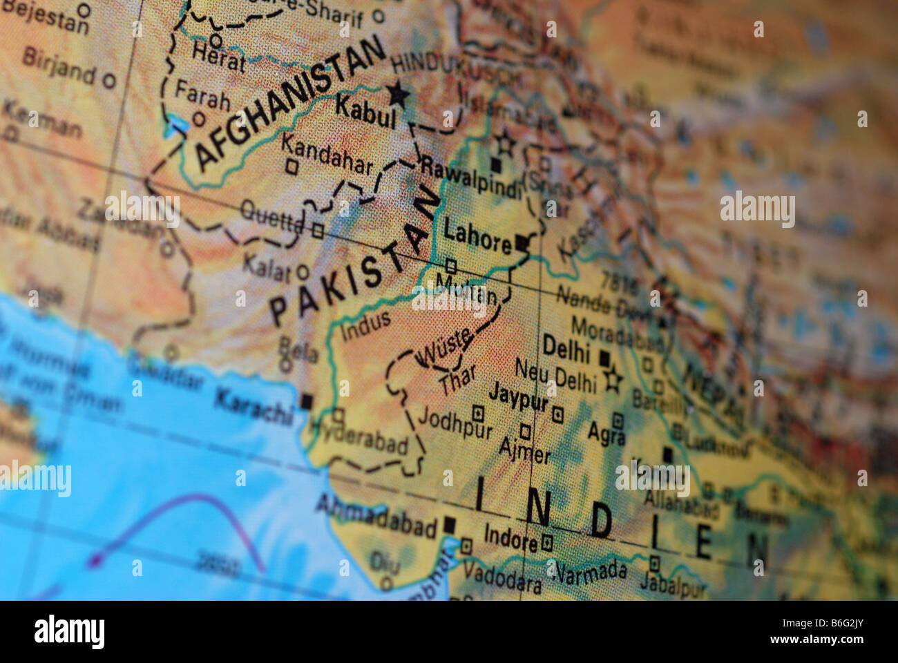Globe Afghanistan and Pakistan and India - Stock Image