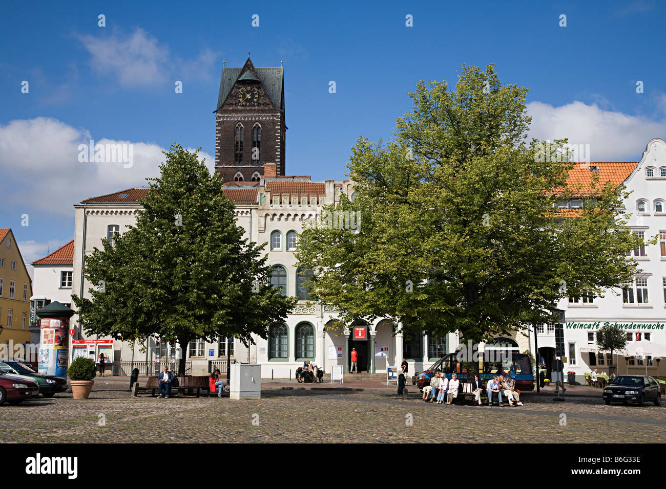 People in the town square Wismar Germany - Stock Image