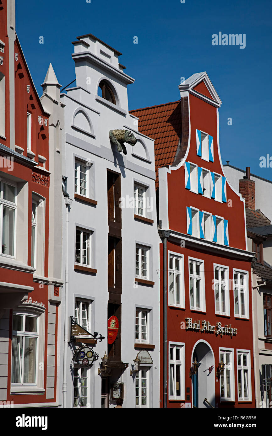 Gabled buildings Wismar Germany Stock Photo