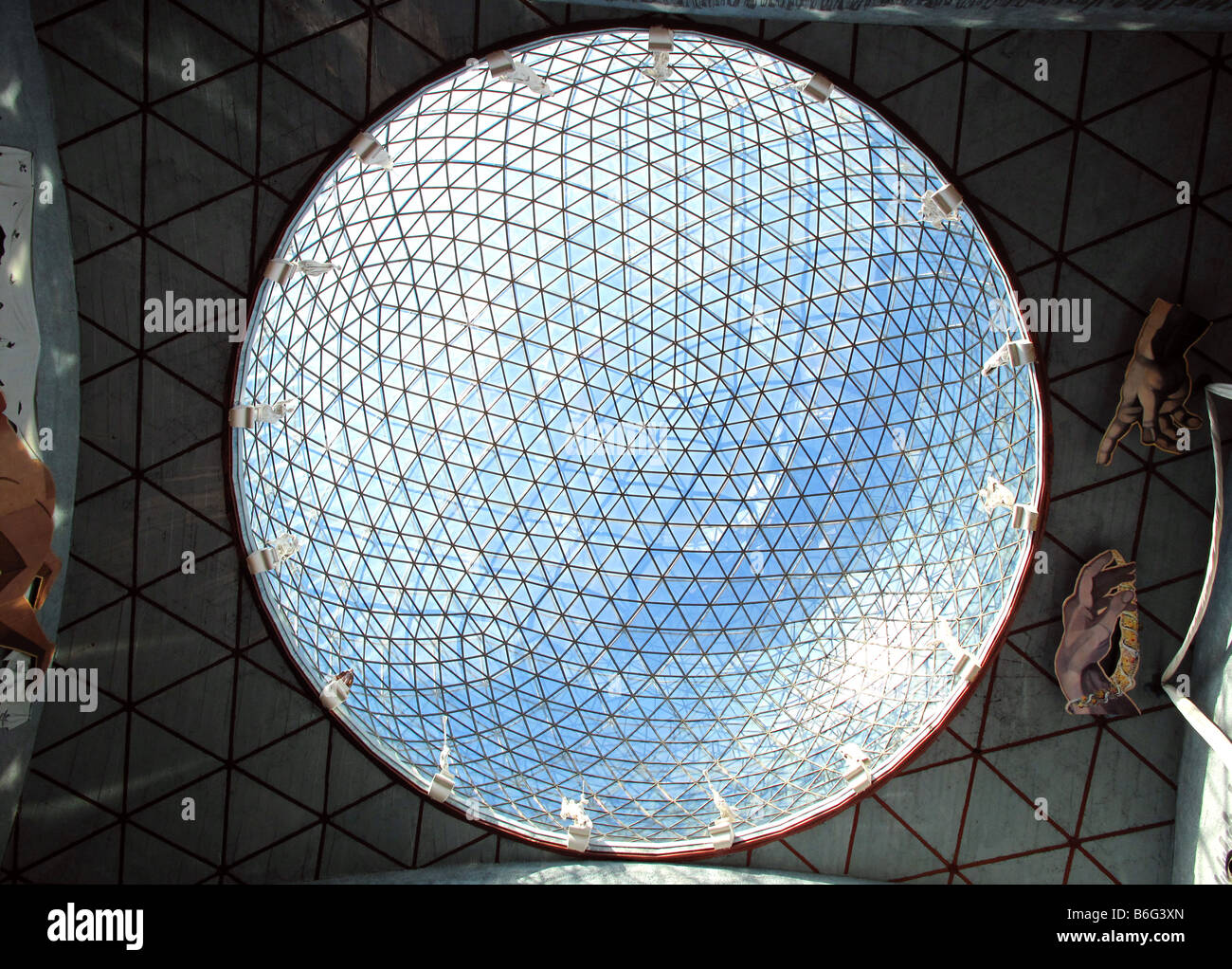 Internal view of domed glass roof of Teatre Museu Dali - Salvador Dali Museum, Figures, Catalonia, Spain - Stock Image