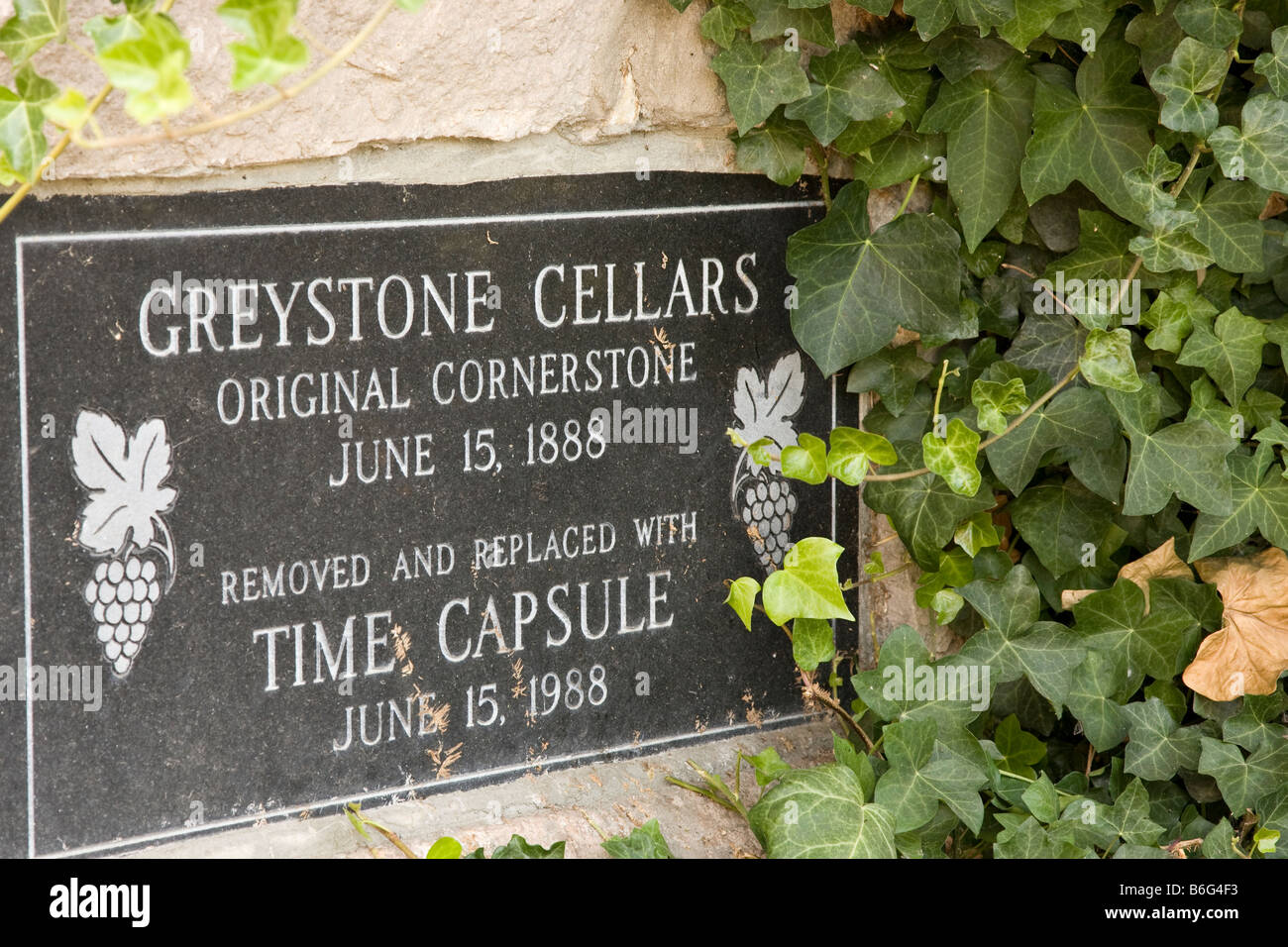 Greystone Cellars time capsule marker at the Cullinary Institute of America Stock Photo
