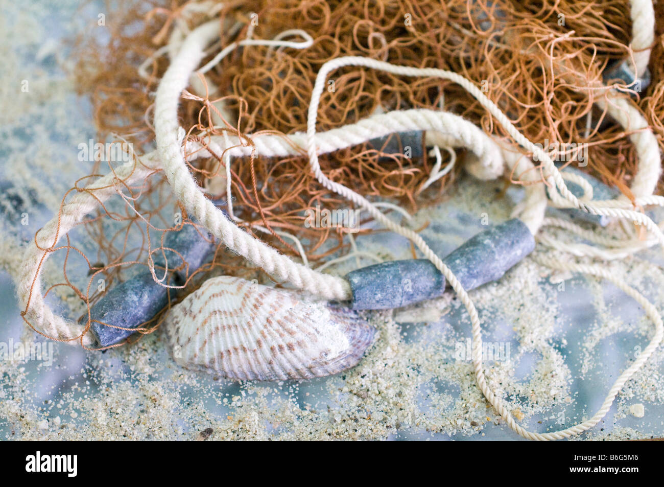 Close-up of fishnet, rope, seashell, and sand. - Stock Image