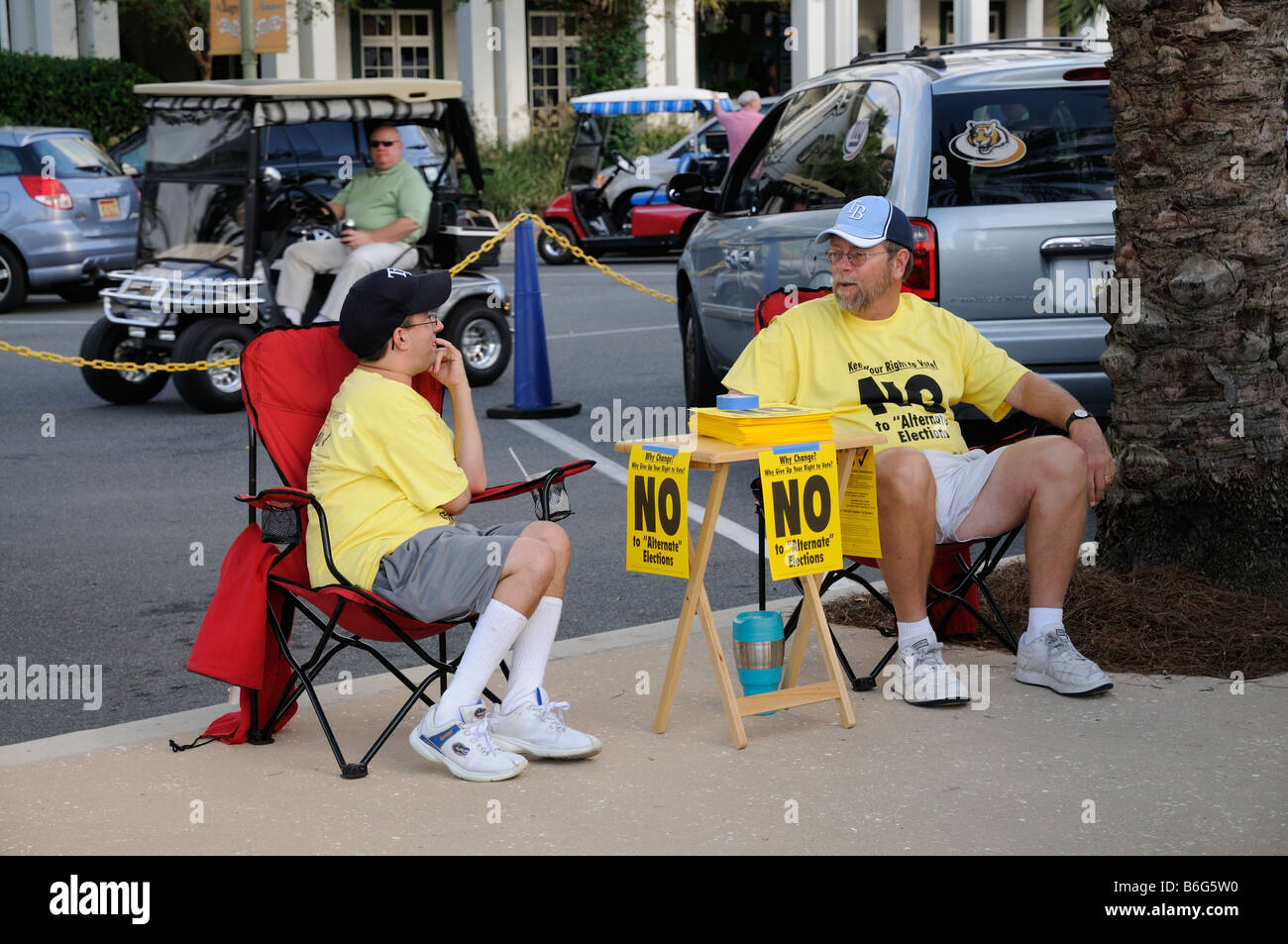Vote No sign for election of county commissioners and supporters on a Sumter County street in Florida USA - Stock Image