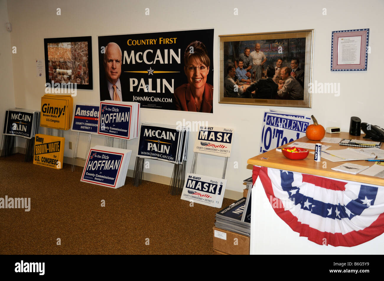 US election support office for John McCain in Sumter Landing The Villages development Florida USA - Stock Image