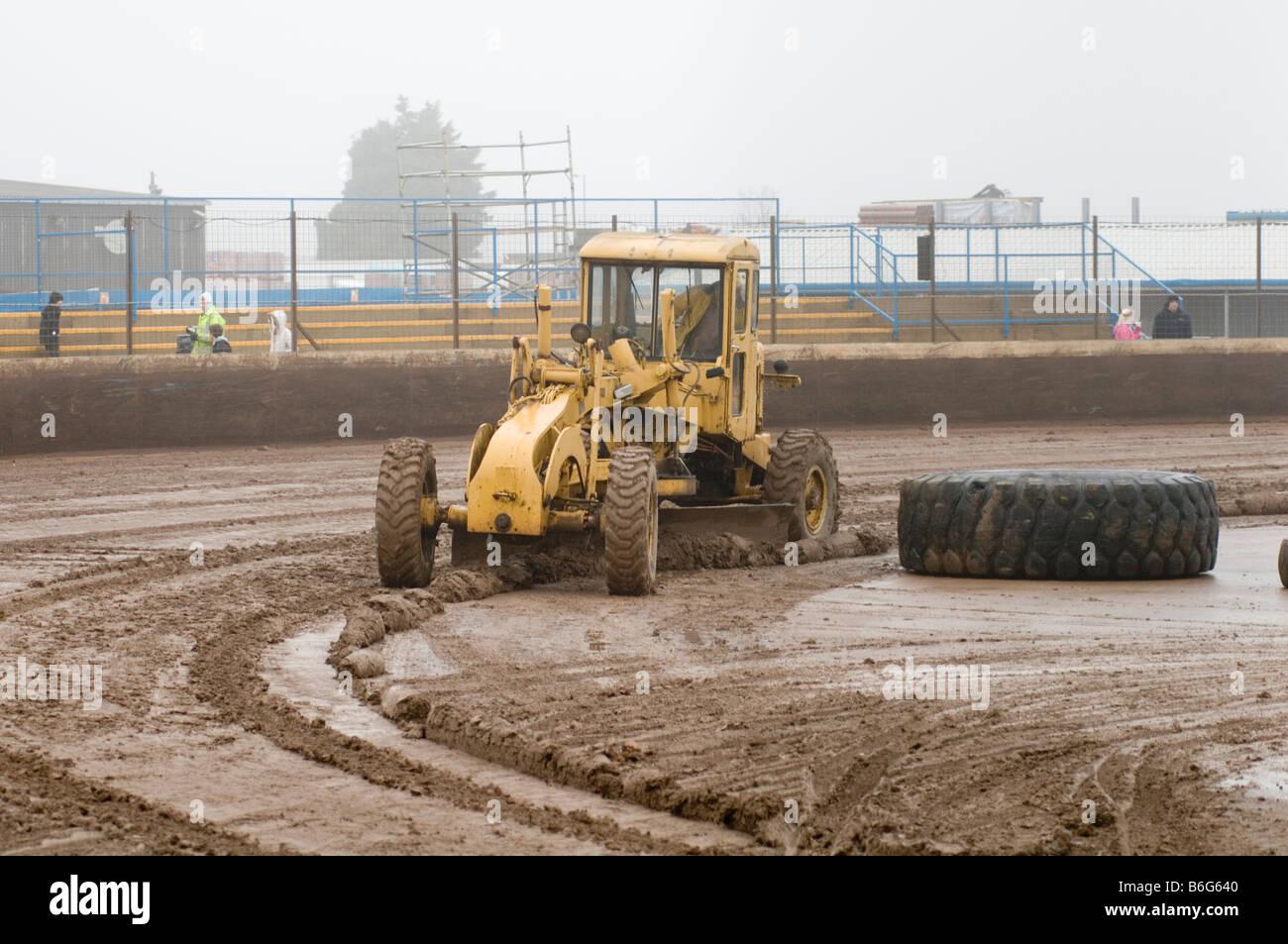 road scraper grader grading construction equipment level leveling building - Stock Image