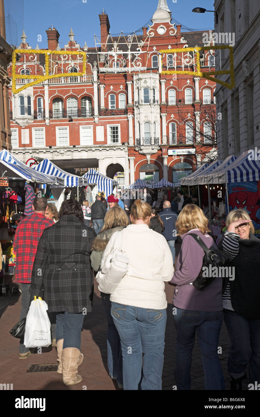 Christmas shoppers Ipswich Suffolk England - Stock Image