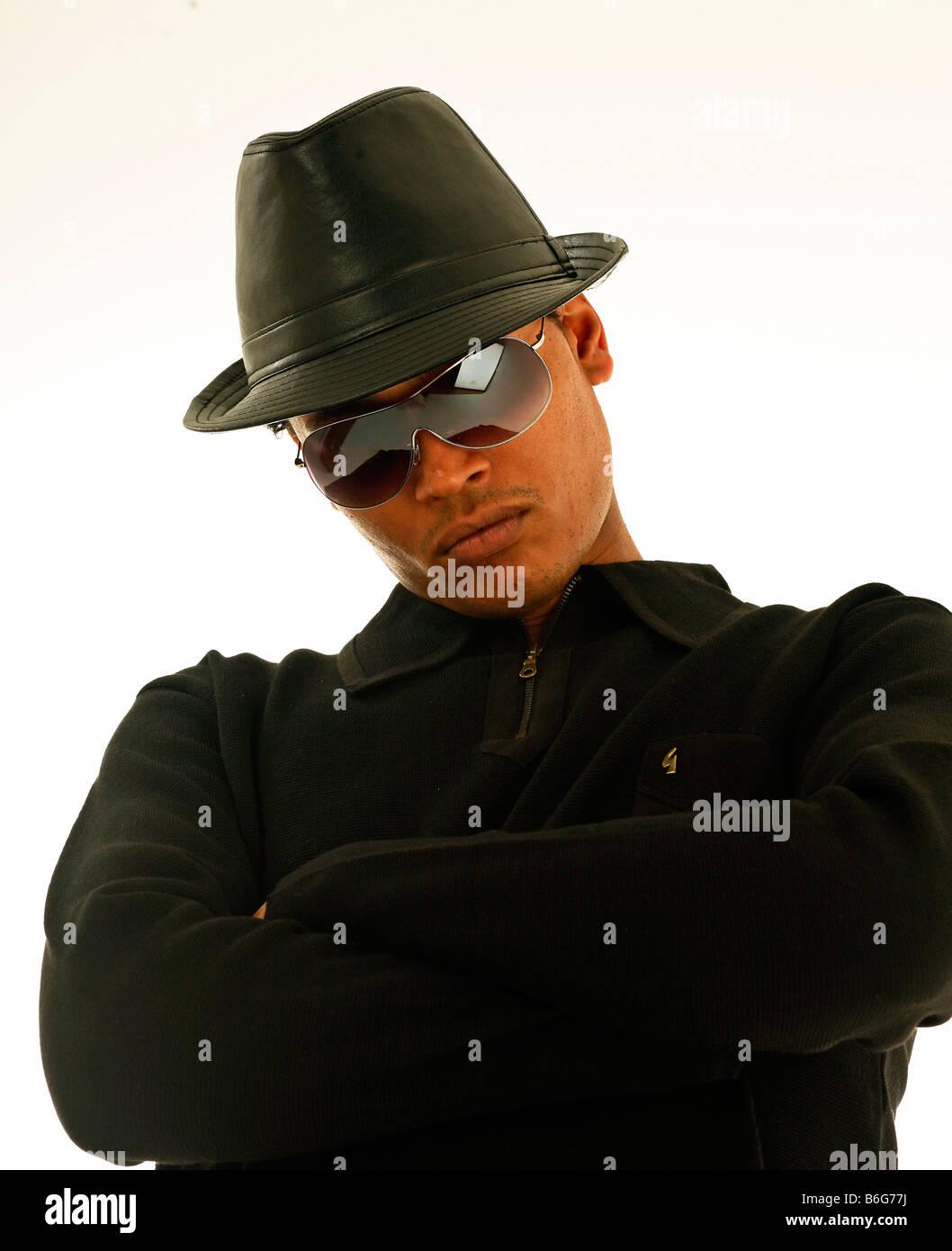 jimmy screech hip hop  musician singer writer uk  banana clan black rapper hat sun glasses Stock Photo
