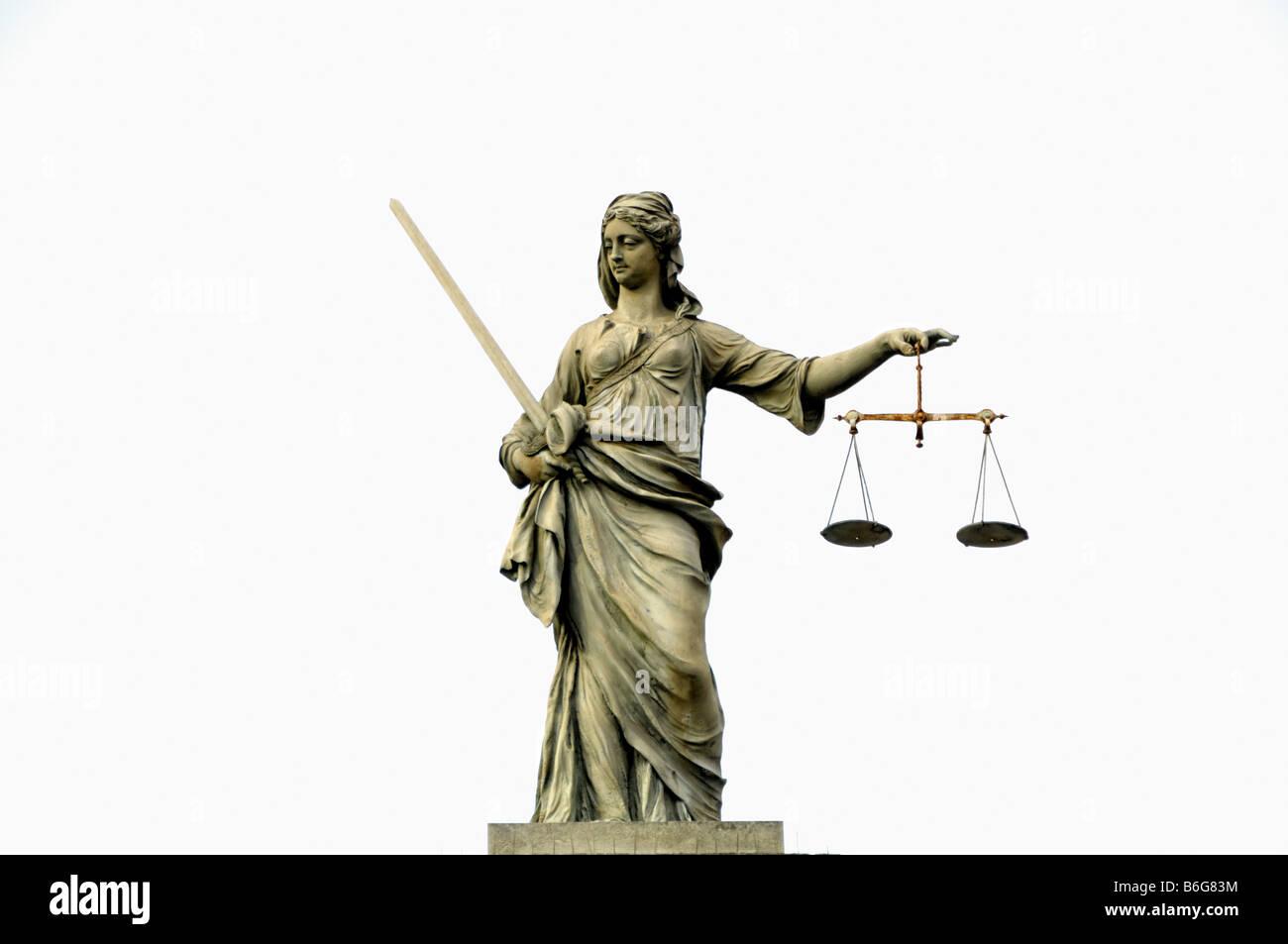 Figure of Justice Dublin castle - Stock Image
