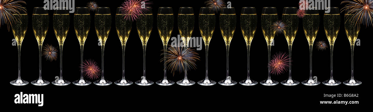 very long banner with 17 champagne flutes in a row over black background with fireworks